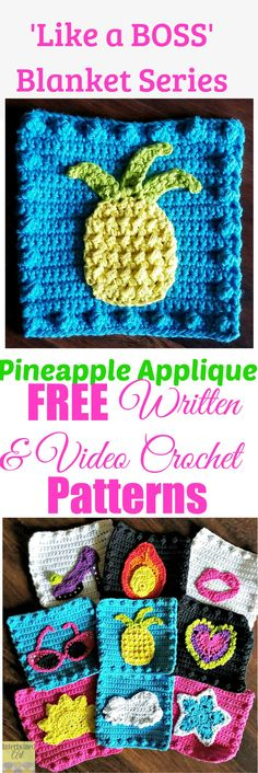 """Free written pattern and video tutorial for a Pineapple Applique. """"Like a Boss"""" Blanket Series Crochet Pineapple Square Pattern."""