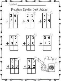 Double Digit Adding & Subtracting w/ NO regrouping Spring Printables Math Worksheets, Math Resources, Math Activities, Addition Worksheets, Math Classroom, Kindergarten Math, Teaching Math, Math For Kids, Fun Math