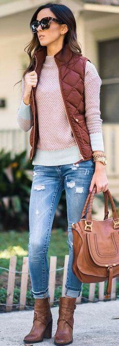 #Winter #Outfits / Burgundy Vest - Brown Booties