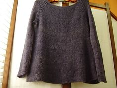 Simple women's sweater with wide neck, long sleeves. Like the drape. Free pattern.  Black Dog Designs