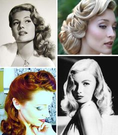 40's hair. Love the upper right one; for a wedding maybe?
