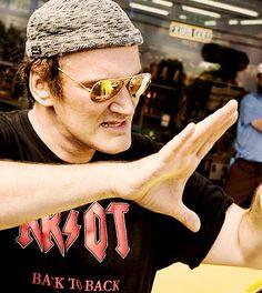 Quentin Tarantino no set de filmagens de À Prova de Morte