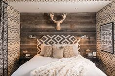 22 Modern Rustic Bedroom Decorating Ideas is part of Dark Rustic decor - These modern ideas will help you create a rustic inspired bedroom that radiates casual warmth without feeling cluttered or cookiecutter Bedroom Colors, Home Decor Bedroom, Bedroom Ideas, Bedroom Curtains, Master Bedroom, Glam Bedroom, Bedroom Pictures, Bedroom Designs, Bedroom Wall