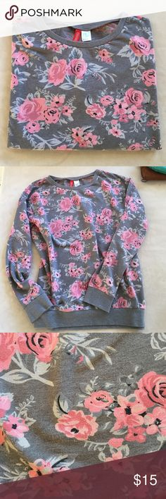 "Pink and gray floral sweatshirt Cute pink roses and gray sweatshirt. 21"" across underarms.  23"" from shoulder to hem.  Oversized comfortable fit.  Cotton/poly blend. Great condition. Divided Tops Sweatshirts & Hoodies"