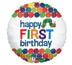 """From the wonderful world of Eric Carle comes this balloon 18"""" foil Happy 1st birthday, The Very Hungry Caterpillar."""