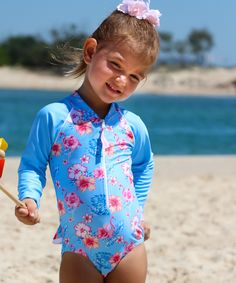f842fcbbff Baby Girls Sun Suit Long Sleeve Swimwear in Coco Flamingo