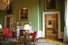 The themed decor scheme started after Thomas Jefferson added a green floor cloth to this space.