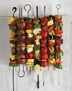 vegetarische Grillrezepte gegrillte Gemüsesorten am Spieß