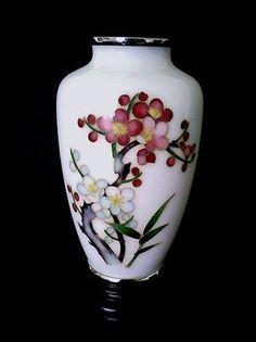 Antique Japanese Plique a Jour cloisonné Cherry Blossom vase 5 inch ca 1910