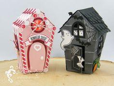 Petite maisons de Noël et d'Halloween réalisées avec le lot Doux Foyer de Stampin'UP! Vendu su r http://jardindepapier.com #stampinup #douxfoyer #jardindepapier