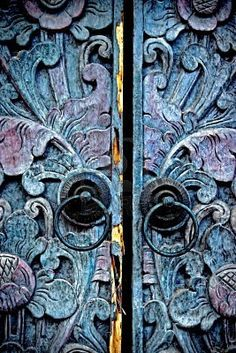 Old carved door ethnic styles Madura, East Java