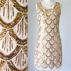 GREAT GATSBY 1920s BEIGE DOWNTON ABBEY FLAPPER CHARLESTON PARTY SEQUIN DRESS M #Shift #Cocktail