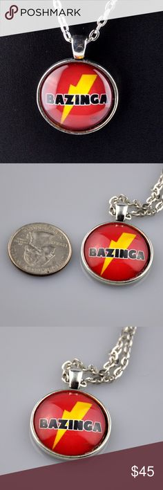"Handmade Red Bazinga Big Bang Theory 24"" Pendant What better way to channel your inner Sheldon Cooper than with this red Bazinga pendant necklace. Handmade pendant is 1"" round and made with a high quality photo image, sealed behind glass, and mounted in an antique silver tone tray. This Big Bang Theory Necklace comes with a matching 24"" chain necklace. Hand assembled so small air bubbles may be present. Water resistant not waterproof. Smoke free pet friendly home. RBBT01 Jennies Jewelry…"