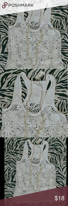 Crochet Tank White crochet tank / cute dressed up or as a swimsuit cover up / new never worn Aeropostale Tops Tank Tops