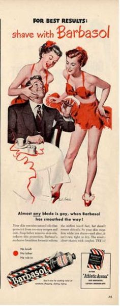Barbasol – Start the New Year right Another shaving ad with pretty lingerie girls! No wonder that man has a big grin! Retro Advertising, Vintage Advertisements, Vintage Ads, Vintage Posters, Vintage Food, Justin B, Shaved Hair Cuts, Auburn Balayage, Hairstylist Quotes