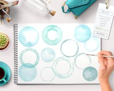 New to ByLef on Etsy: Watercolor clipart circles and frames (48 pc) teal aqua turquoise green. handpainted round clip art for blogs digital scrapbooking cards etc (3.75 EUR)