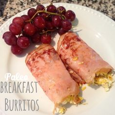 This is crazy easy to make and delicious. I used 2 slices of  turkey for each burrito and one scrambled egg per burrito. I put garlic salt, onion powder and pepper on the eggs and then rolled the eggs in turkey. You can use ham for this too. I like to add a little fruit to my morning meal and grapes are delicious! Enjoy