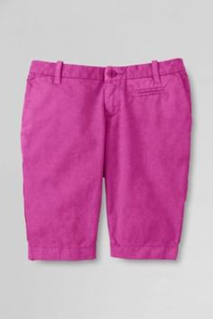 Girls' Solid Bermuda Shorts from Lands' End. Available in regular, slim, and plus sizes in multiple colors.