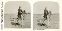 STEREO Algérie, Cavalier Arabe Vintage silver print stereo card Tirage argent