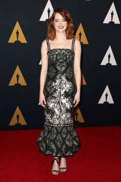 Emma Stone wearing Erdem at The Governors Awards in Los Angeles