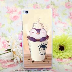 1105HQA penguin coffee Hard White Painted Case Cover for Huawei Ascend P6 P7 P8…