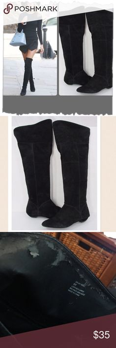 """Steve Madden Black On My Mind Thigh High Boots Sexy suede slouchy thigh high flat boots. Great shape! Interior tops have some peeling but otherwise in great shape. Suede is clean and in great shape. Perfect cold weather staple. Shaft height 20""""-22"""". Circumference 17.5"""" Steve Madden Shoes Winter & Rain Boots"""