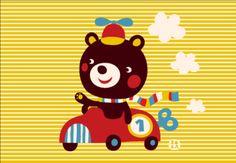 Greeting card bear & race auto design By Bora from www.kidsdinge.com…