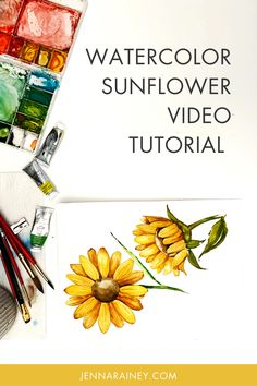 An easy watercolor sunflower tutorial video. I show you two different perspectives—front-facing and a side view.Now the varying perspectives and details on this one may look super advanced. But it's beginner-friendly, too! Why? Because I show you how to break it down into simple shapes. Watercolor Flowers Tutorial, Step By Step Watercolor, Watercolor Sunflower, Easy Watercolor, Watercolor Design, Flower Tutorial, Sunflower Sketches, Happy Little Trees, Simple Flowers