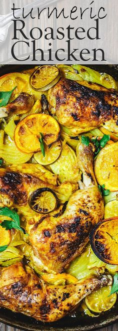,one-pan roast chicken dinner with a delicious combination of Eastern Mediterranean marinade with turmeric and fennel! A warm and rustic chicken dinner that you'll want to make over and over. See the step-by-step tutorial on TheMediterraneanDi Roast Chicken Dinner, Roast Chicken Recipes, Turkey Recipes, Roasted Chicken, Tumeric Chicken Recipes, Fried Chicken, Mediterranean Diet Recipes, Mediterranean Dishes, Frango Chicken