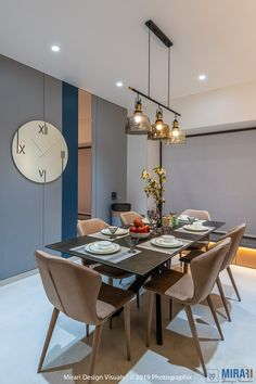 This spacious Pune home designed by Mirari Design Visuals embraces a smart, sophisticated colour palette with clean, sleek aesthetics Indian Home Interior, Hall Interior, Apartment Interior Design, Interior Design Living Room, Modern Interior, Spacious Living Room, Living Room Modern, Living Room Decor, Dining Area Design