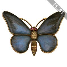 Pre-owned Victorian Rock Crystal Gold Butterfly Brooch