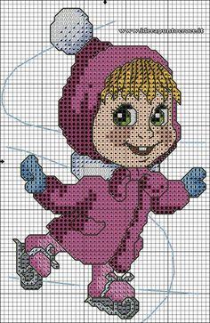 Bildergebnis für masha e orso punto croce Cross Stitching, Cross Stitch Embroidery, Embroidery Patterns, Cross Stitch Designs, Cross Stitch Patterns, Marsha And The Bear, Stitch Doll, Stitch Cartoon, Cross Stitch Fairy