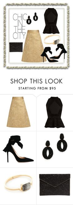 """Chic in City"" by paige-brrian ❤ liked on Polyvore featuring RED Valentino, Roland Mouret, Gianvito Rossi, Oscar de la Renta, Ringly and Rebecca Minkoff"