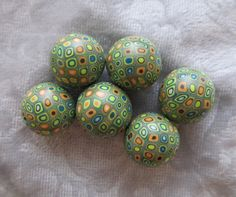 green peach round retro style polymer clay beads by clayhappy