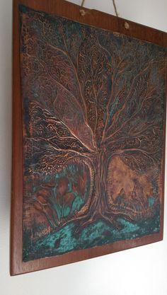 Embossed copper,cold patina,on massaranduba wood