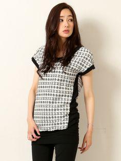 ShopStyle(ショップスタイル): 5351 Pour Les Femmes 5351プーラ・ファム,★千鳥ボーダーレースカットソー【予約】