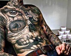 Front thorax skull tattoo