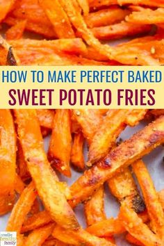 how to make perfect baked sweet potato fries. the best tips for perfect baked fr… how to make perfect baked sweet potato fries. the best tips for perfect baked fries you will love. Great side dish or finger food. Perfect Baked Sweet Potato, Homemade Sweet Potato Fries, Making Sweet Potato Fries, Sweet Potato Fries Healthy, Air Fryer Sweet Potato Fries, Recipe For Baked Sweet Potato Fries, Baked Potato Fries, Sweet Potato Meals, Recipes With Sweet Potatoes