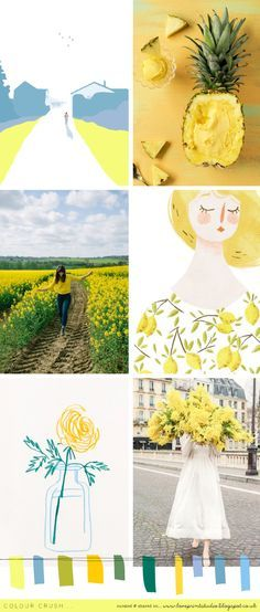 Half way through this second colour crush week and celebrating all things lemony and lovely! (image credits clockwise from top left) 1 | 2 | 3 | 4 | 5 | 6 x x x mood board, color palette
