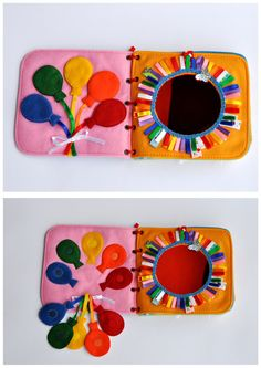 It's a great gift for a child! This book has interesting content and encourage the development of hands. The toy develops fine motor skills, attention, logical thinking. The ideas of pages also allow learning main colors, main geometrical shapes. A child can see himself in the mirror. Active book made of felt is recommended for children from 1 year old.  Since it is a handmade item, book design may differ slightly depending on the availability of working material. Everything is made by me…