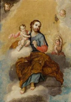 Miguel Mateo Maldonado y Cabrera (1695-1768) — Saint Joseph with the Infant Jesus (418×600)