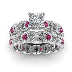 Flowery Design Princess Cut Diamond Engagement Wedding Ring With Pink Sapphire