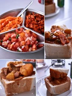 bunny-chow-durban-- reminds me when we still lived there in the Surfing and Bunny Chows! Spicy Recipes, Curry Recipes, Cooking Recipes, Healthy Recipes, Easy Recipes, Tomato And Onion Salad, Mutton Curry Recipe, Best Chili Recipe, South African Recipes