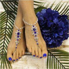 SAPPHIRE - wedding barefoot sandals - blue