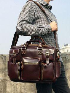 #Vintage Briefcase Handmade Genuine Leather #Travel Bag