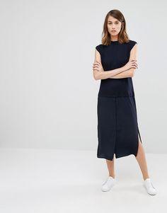 Imagen 4 de Vestido camisero híbrido de mezcla de lana de Warehouse
