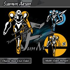Samus Aran Vinyl Car Decal White 06 with either ice blue or silver