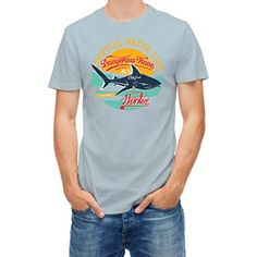 T shirt summer tropical shark surf rider Blue Ice XL - Brought to you by Avarsha.com