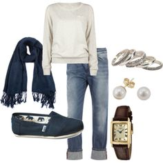 Scarf, toms and pearls. What's not to love?