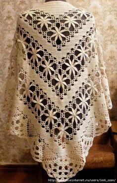 Delicadezas en crochet Gabriela: Chal en diagonal en ganchillo